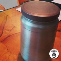 barattolo in vetro rivestito in alluminio e coperchio in rame