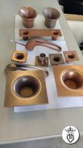 maniglie rivestite in bronzo e rame